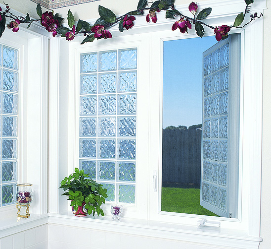 Vinyl Framed Acrylic Block Casement Windows Accent