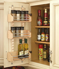 adjustable door spice rack - wood