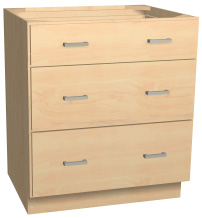 "30"" wide three drawer pots and pans base cabinet"