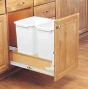 double waste basket on solid wood pullout