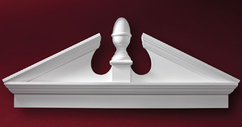 Fypon combination crosshead and acorn pediment accent for Fypon window pediments