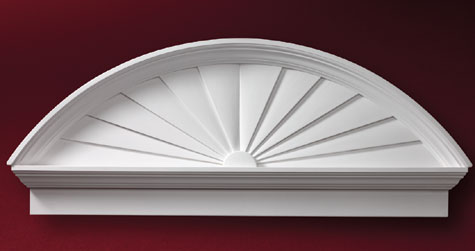 Fypon combination sunburst accent building products for Fypon window pediments