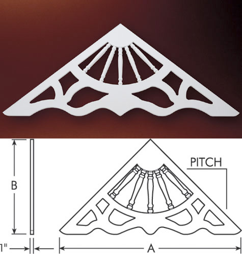Fypon gable pediments gable decorations victorian gable for Roof peak decorations