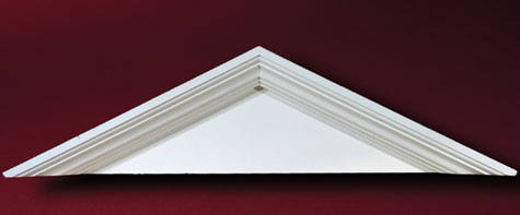 Peaked cap pediment and crossheads accent building products for Fypon gable pediments