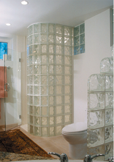 Staircase Glass Block Wall, Bathroom Glass Block Divider ...