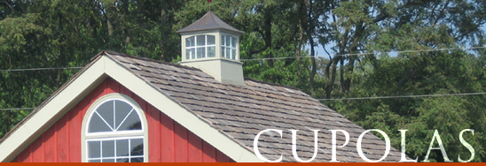 Our large selection of roof cupolas range from wood to vinyl to Fypon urethane. Cupolas are the perfect way to ventilate an attic space while enhancing your home's exterior appearance.