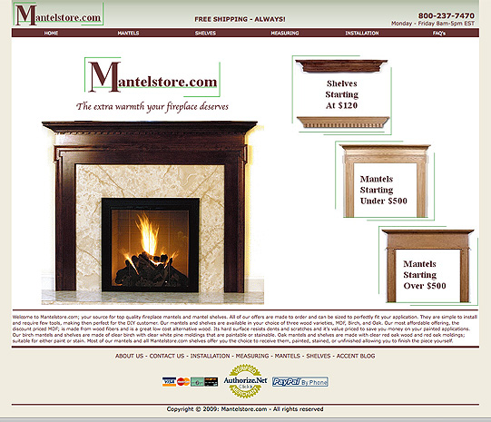 Mantelstore.com wood mantels surrounds and fireplace shelves