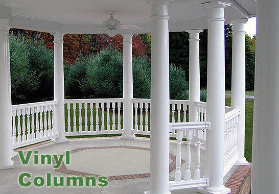 Vinyl columns round square accent building products for Round porch columns