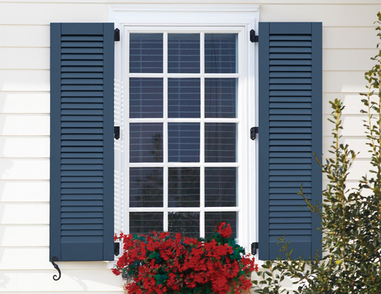 Louvered shutters composite exterior functional atlantic premium shutters classic series for Exterior louvered window shutters
