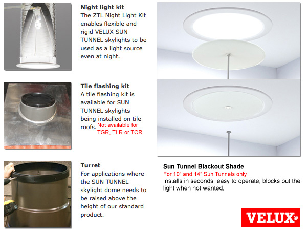 Velux sun tunnel tcr lowest profile accent building for Velux solar blinds installation instructions