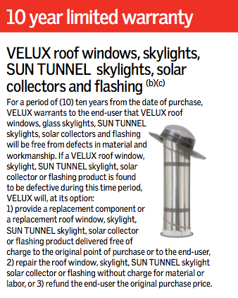 Velux rigid solar tube skylights tubular skylights Velux sun tunnel installation instructions